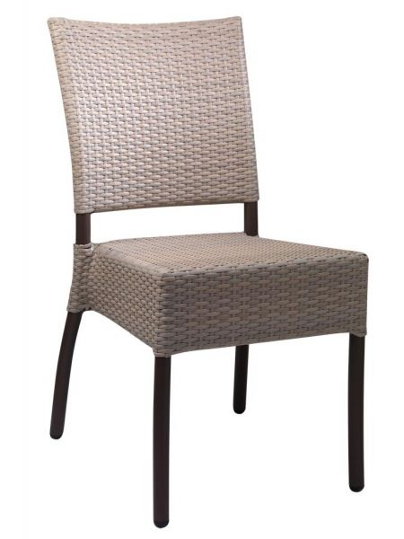Chaise Lausanne tressage Taupe/pied Chocolat