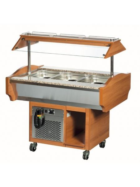 Chariot Buffet Froid 3 Gastro 1/1 Chêne Clair